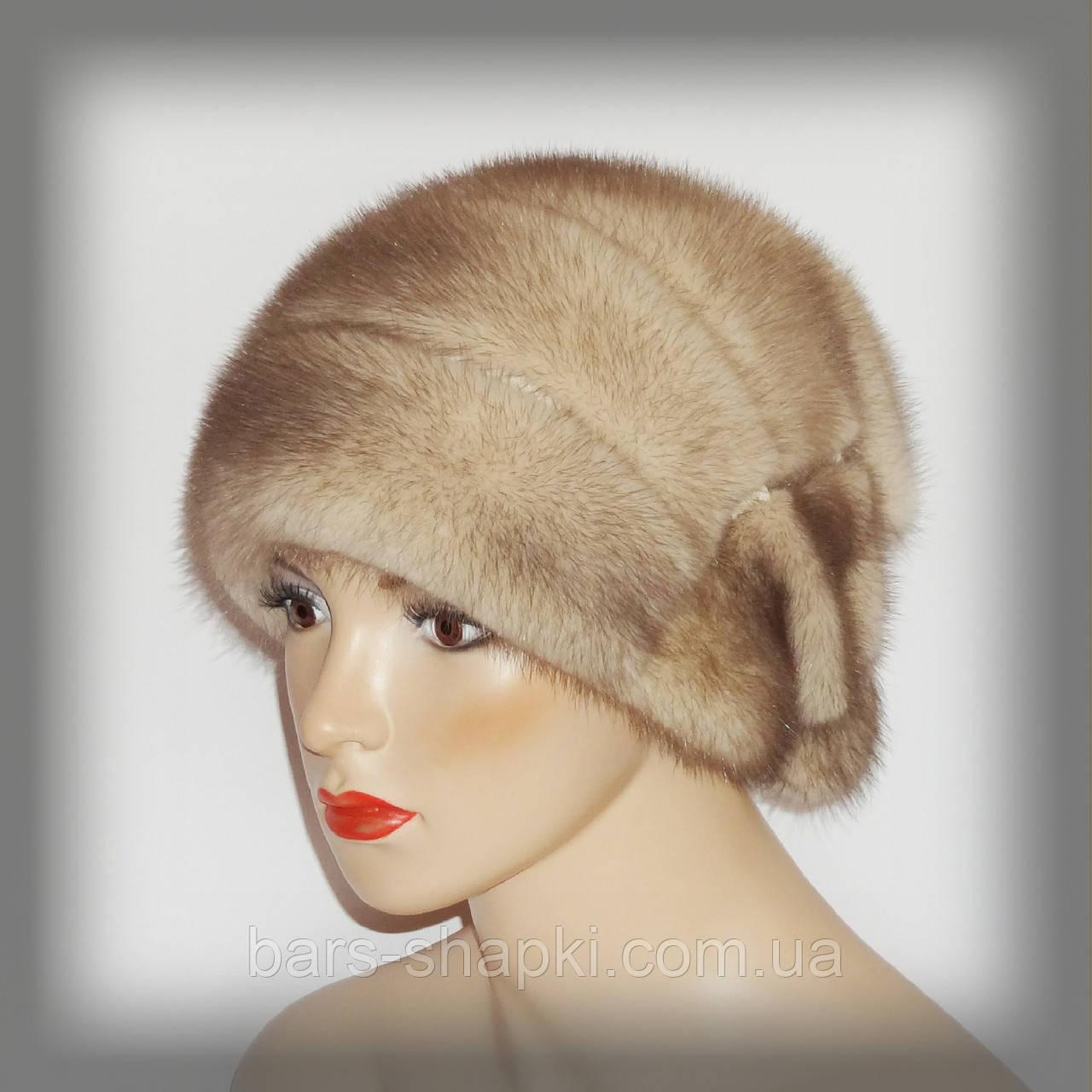 Меховая женская норковая шапка с бантом