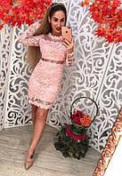 Невероятно красивое и стильное, женское, кружевное платье приталенного силуэта с длинными рукавами