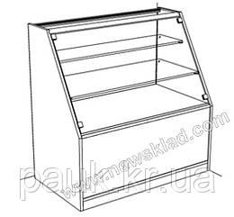 Торговый прилавок со стеклянной витриной ДСП (цоколь) ПК 2