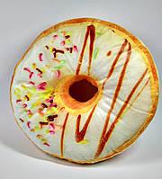 Подушка Пончик декоративная, белая глазурь, 28 см