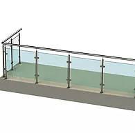 Ограждение для офиса из нержавейки с вставками из стекла для балкона | магазина | офиса ТИП-11