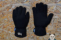 Чоловічі зимові флісові рукавички чорні стасси/Stussy