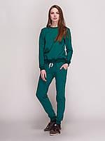 Костюм женский, свитшот и спортивные штаны, цвет- бутылка