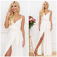 Шелковое белое длинное платье в пол на бретелях