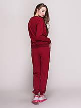 Костюм жіночий, світшот і штани, колір - вишня, фото 2