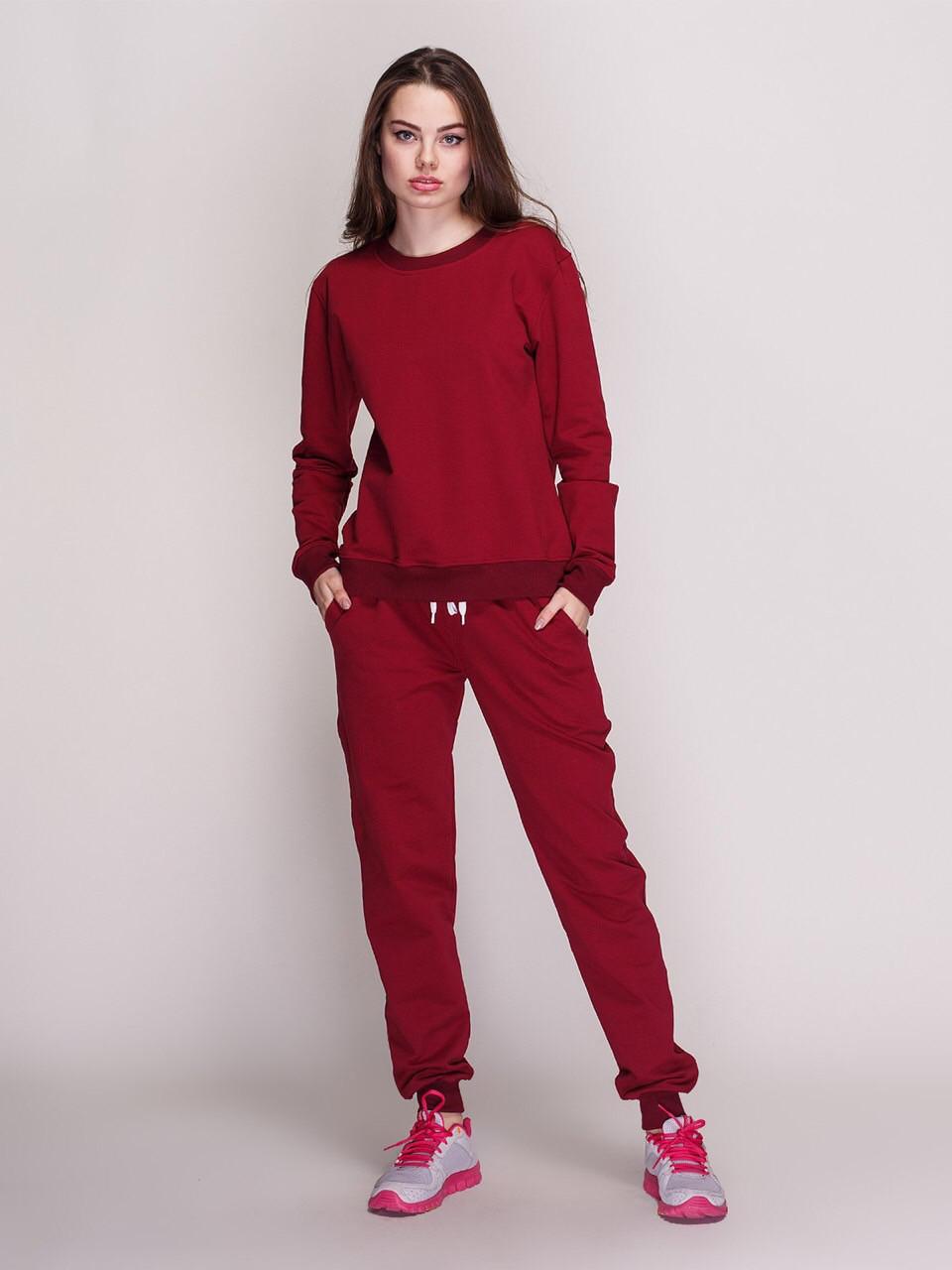 Костюм жіночий, світшот і штани, колір - вишня