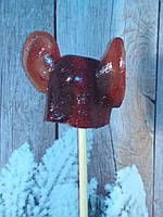 ЖОПА с ушами, леденец на палочке темно-красного цвета. 3D.