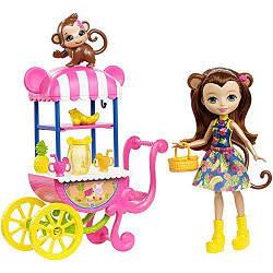 Игровой набор Энчантималс Фруктовая корзинка кукла Мери с обезьянкой  Enchantimals Fruit Cart Playset