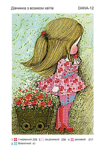 Заготовка на ткани Девочка с тележкой цветов