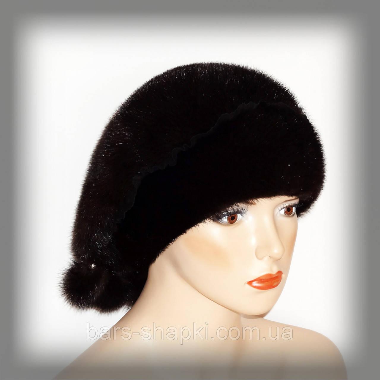 Зимняя женская шапка-косынка из норки