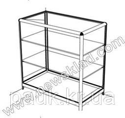 Прилавок торговый (ламинированный ДСП, стеклянная витрина, алюминиевый профиль) АС