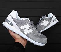 Кроссовки в стиле New Balance 574 ML Grey White мужские b2bab2403f8fe