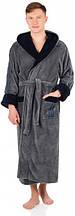 Комфортный мужскойхалат размер XL SOFTSHOW COLLECTION(СОФТШОУКОЛЛЕКШН)149 серый с синим