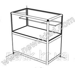 Прилавок торговый (ламинированный ДСП, стеклянная витрина, алюминиевый профиль) АДС