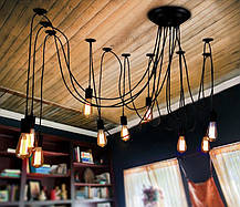 Люстра паук на 6 лампочек черная, фото 2