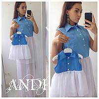Комплект платьев с шифоновой юбочкой и рубашечным верхом без рукавов