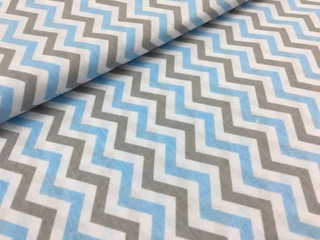 """Польская хлопковая ткань """"зигзаг серо-голубой на белом"""", фото 2"""