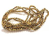 Бусина стекло, гранёнка, хрусталь, золото, перелив, биконус, 4 мм