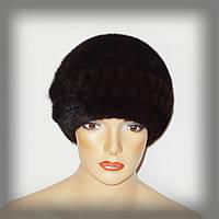 Шапка женская норковая коричневая, фото 1
