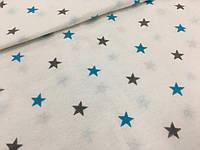 """Фланель """"звезды серо-голубые на белом"""""""