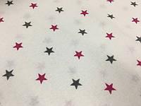"""Фланель """"звезды серо-малиновые на белом"""""""