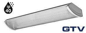 Светильник с ЭПРА для труб Т8/G13 GTV ZEFIR 2x60 IP40, прозрачный рассеиватель