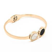 Браслет-кольцо BULGARI 0363 из ювелирной стали со вставками перламутра и черной керамики золтистый