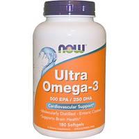 Ultra Omega-3, 500 EPA / 250 DHA, 180 м'яких капсул