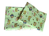 """Пеленка байковая """"Мишки на прогулке"""" зеленая (90*80, 110*90)"""