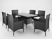 Садовая плетенная мебель Ротанг TRAPANI 7 черный, для дома, сада, кафе и ресторанов, Львов