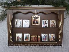 """Иконостас, прямая полка для икон (дерево - ольха, покрытие - """"лесной орех"""" № 44 + патина под золото), фото 3"""