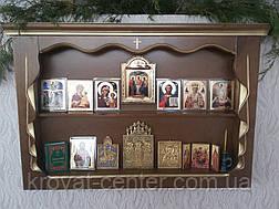 """Иконостас, прямая полка для икон (дерево - ольха, покрытие - """"лесной орех"""" № 44 + патина под золото), фото 2"""