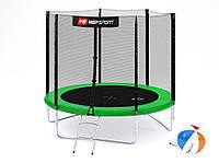 Батут Hop-Sport 8ft (244cm) green с внешней сеткой  для дома и спортзала, Львов
