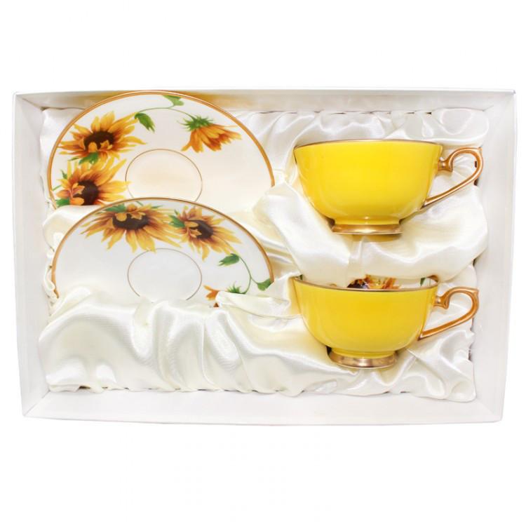 Чашка фарфоровая с блюдцем (2шт.) «Подсолнухи», 200 мл,d-15.5 cм (380-9024)