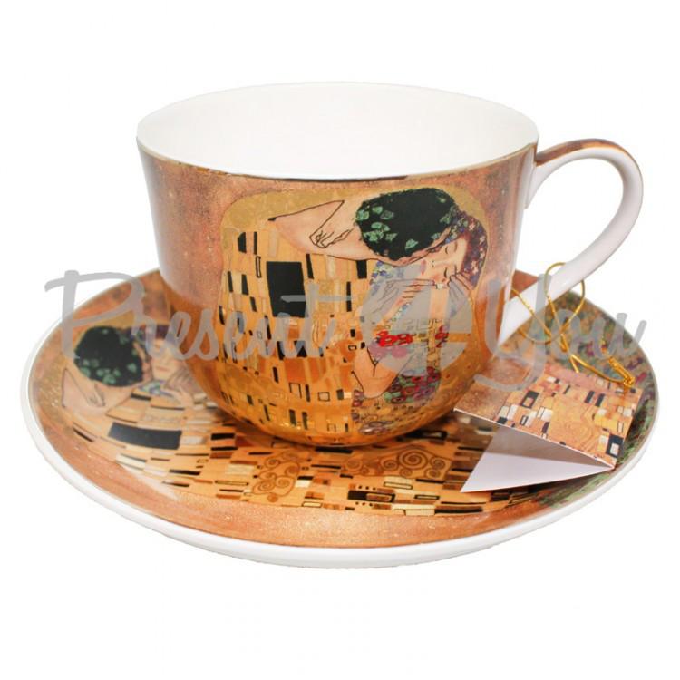 Чашка с блюдцем из фарфора Г.Климт «Поцелуй», 400 мл, d-17,5 cм (388-7004)