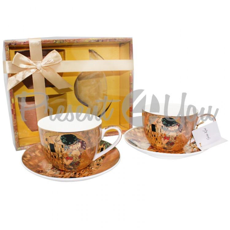 Чашка с блюдцем из фарфора ( 2 шт.) Г.Климт «Поцелуй», 300 мл, d-14,5 cм (388-7005)