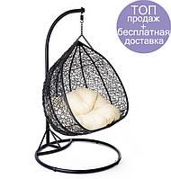Садовое плетенное кокон кресло из ротанга Foggio black, Львов
