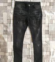 Зауженные джинсы для девочек с потертостями черные 4,6,8,10 лет из Венгрии.