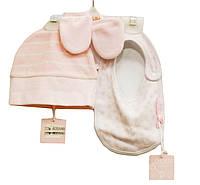 Набор: слюнявчик, шапочка, царапки для новорожденных девочек