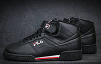 Кроссовки Fila Heritage High black на липучках (Реплика ААА+)