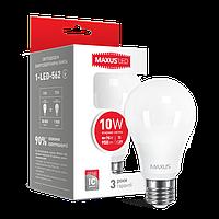 Светодиодная LED лампа MAXUS, 10W, 4100K, 220V, A60, Е27
