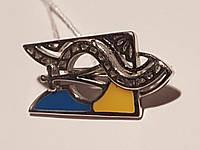 Серебряная брошь Трезубец с эмалью. Артикул 660077а