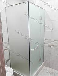 Угловая душевая кабина 1м*1м с распашной дверью, матовое стекло