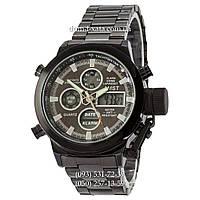 Армейские часы AMST Metall All Black, кварцевые, противоударные, наручные мужские часы АМСТ, реплика, отличное качество!