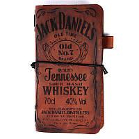 """Коричневый кожаный блокнот-классик """"Jack Daniels, бренди"""