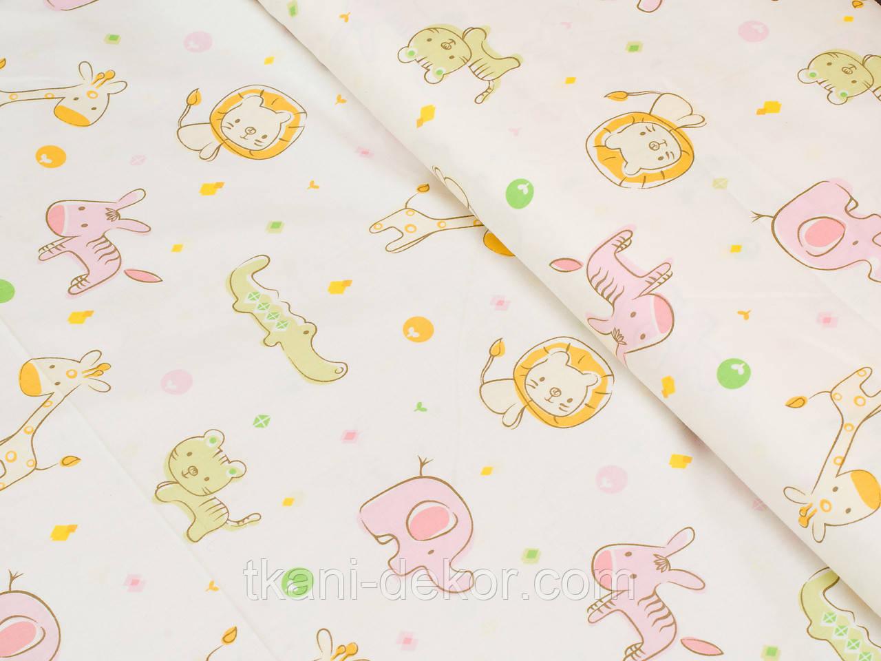 Сатин (хлопковая ткань) розовые слоники