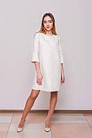 Платье молочное жакардовое