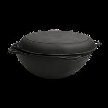 Чугунный казан-кастрюля WOK с литыми ручками и крышкой-сковородой Объем 3,5 л, диаметр 260 мм, высота 120 мм