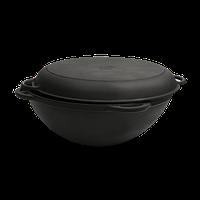 Чугунный казан-кастрюля WOK с литыми ручками и крышкой-сковородой    Объем 8 л, диаметр 340 мм, высота 155 мм