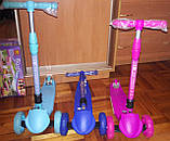 Детский складной самокат Best Scooter Maxi Макси 3 цвета (розовый, голубой, синий) светящиеся колеса, фото 4
